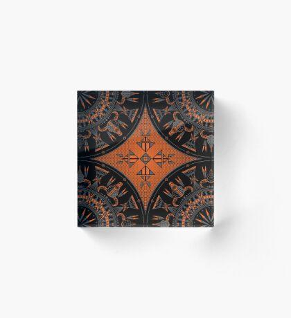 Buffalo Gathering Orange Acrylic Block