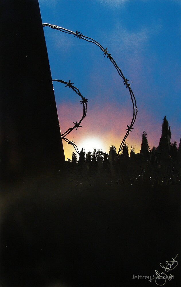 Sunset & Barbed Wire  by Jeffrey S Grant