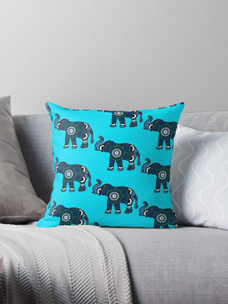 Blue Elephant Mandala  by Nora Gad