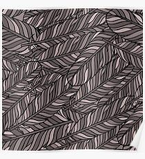 Pastel grey seamless pattern with feathers. Poster
