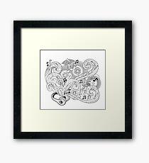 Doodle design headphones.Zenart music concept.Page for coloring book for adult. Framed Print