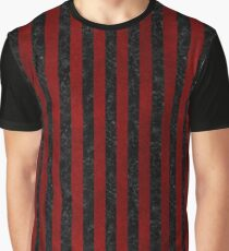 STRIPES1 BLACK MARBLE & RED GRUNGE Graphic T-Shirt