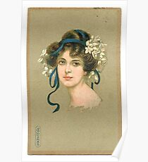 Vintage illustration of a pretty lady Poster