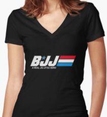 BJJ - A Real Jiu-Jitsu Hero (Brazilian Jiu Jitsu) Women's Fitted V-Neck T-Shirt