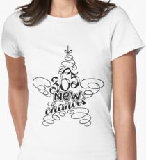 365 new chances, new year lettering composition in form of star, black white design T-Shirt