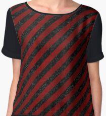 STRIPES3 BLACK MARBLE & RED GRUNGE (R) Women's Chiffon Top
