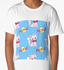 Cute meow seamless pattern print with cat Long T-Shirt