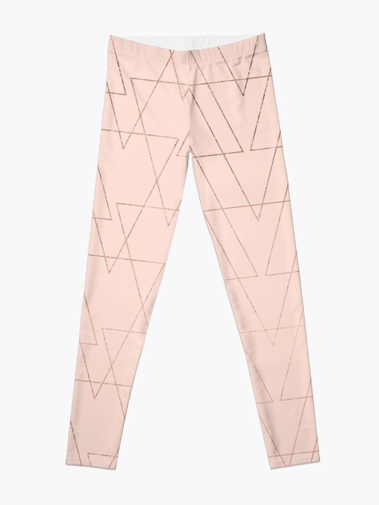 3affe2bd5ab69e modern rose gold geometric thin triangles blush pink abstract pattern  Leggings