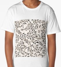 Beige black brunches seamless background print Long T-Shirt