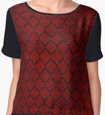 TILE1 BLACK MARBLE & RED GRUNGE Women's Chiffon Top
