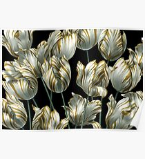 Winter Tulips in Gold. Poster