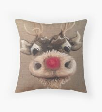 Rudolph Red Nose Reindeer Oil Painting by Angela Brown Art Throw Pillow