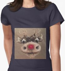 Rudolph Red Nose Reindeer Oil Painting by Angela Brown Art Women's Fitted T-Shirt