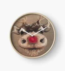 Rudolph Red Nose Reindeer Oil Painting by Angela Brown Art Clock