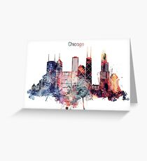 Chicago Watercolor Skyline Art Greeting Card