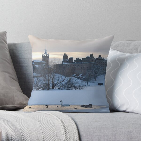 Snowy Linlithgow Palace ( Wentworth Prison in  Outlander) Throw Pillow