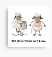 Cute sheep characters with knitted pullover Canvas Print