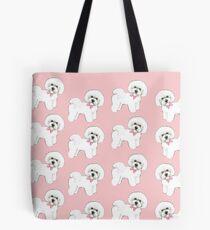 Bichon Frise dog,  pink dog bows, christmas gift for her, girls gift, bichon frise tote bag, ,  Tote Bag