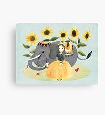 Princess and Elephant Canvas Print