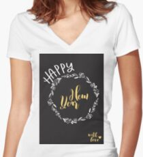 Happy New Year with love. Vector illustration. Women's Fitted V-Neck T-Shirt