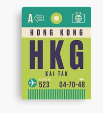 Retro Airline Luggage Tag - HKG Kai Tak Airport Hong Kong Canvas Print