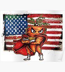 The Angry Carrot / Foodietoon SuperHero / USA Flag Poster