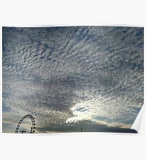 London Eye, Cloudy Sky Poster