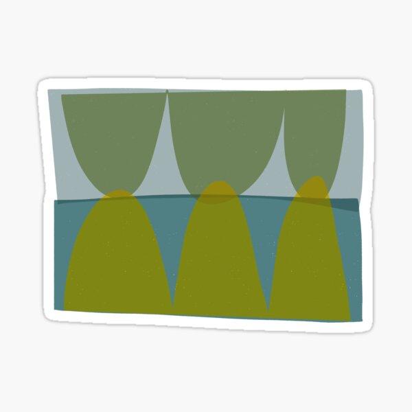 Green and Blue Retro Elliptical  Sticker
