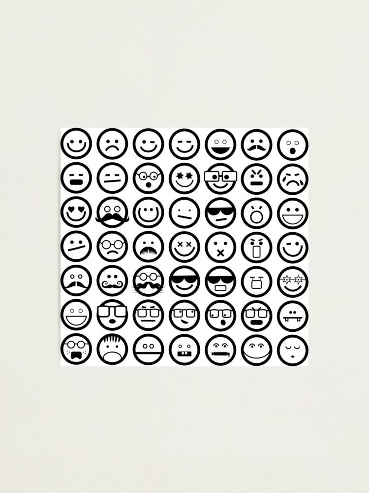 Impression Photo Emoticones Emoji Noir Et Blanc Par Prawny Redbubble