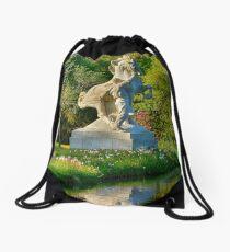 Horse and Man Statue Drawstring Bag