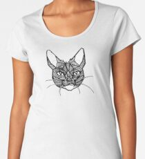 Geometric Cat Tattoo Women's Premium T-Shirt
