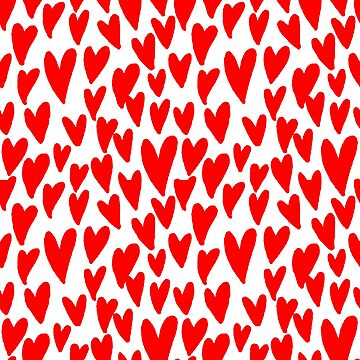 Hearts red and white love valentines day heart pattern minimal  by charlottewinter