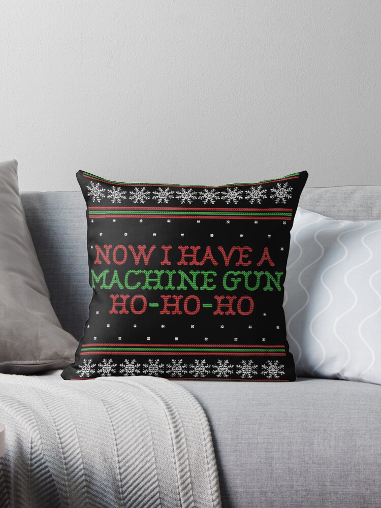 Die Hard Now I Have A Machine Gun Ugly Christmas Sweater Throw