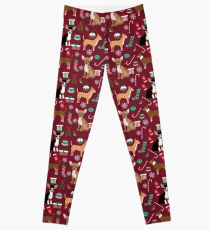 Chihuahua christmas presents dog breed stockings candy canes mittens  Leggings