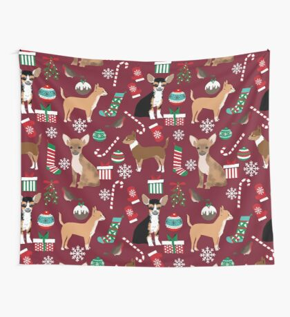 Chihuahua christmas presents dog breed stockings candy canes mittens  Wall Tapestry