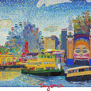 Luna Park Sydney with White Text by tobycentreart