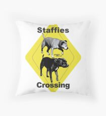 Staffies Crossing Throw Pillow