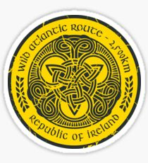 Wild Atlantic Route, Ireland - Celtic Triskele Knot - Yellow/Graphite Sticker