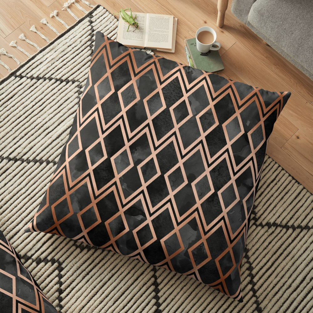 Copper & Black Geo Diamonds Floor Pillow
