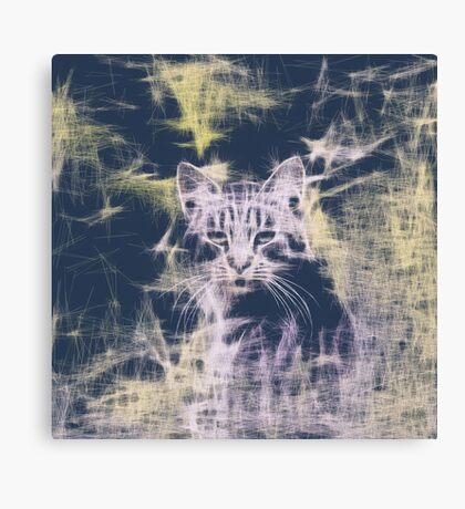 Linify Cat Canvas Print