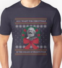 "Karl Marx ""Seize the Means of Production"" Funny Ugly Christmas Sweater Unisex T-Shirt"