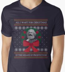 "Karl Marx ""Seize the Means of Production"" Funny Ugly Christmas Sweater Men's V-Neck T-Shirt"