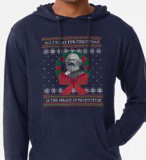 """Karl Marx """"Nutze die Produktionsmittel"""" Lustiger hässlicher Weihnachts-Pullover Leichter Hoodie"""