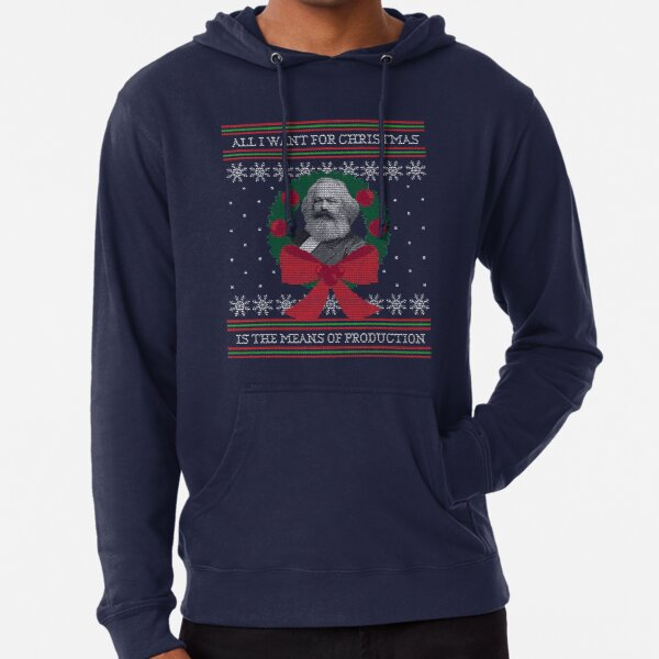 "Karl Marx ""Seize the Means of Production"" Funny Ugly Christmas Sweater Lightweight Hoodie"