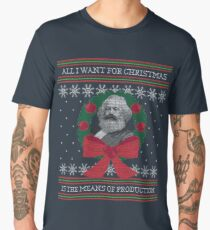 """Karl Marx """"Seize the Means of Production"""" Funny Ugly Christmas Sweater Men's Premium T-Shirt"""