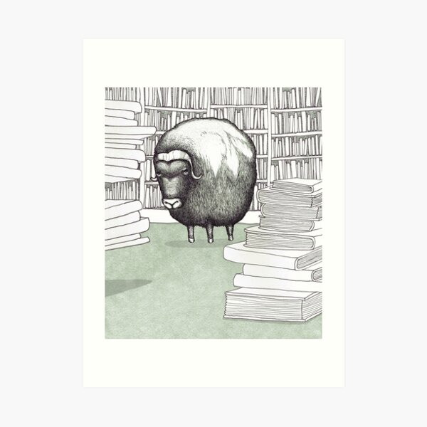 Ox in a Library Art Print