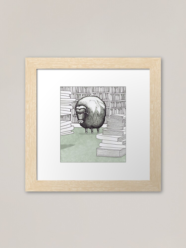 Alternate view of Ox in a Library Framed Art Print