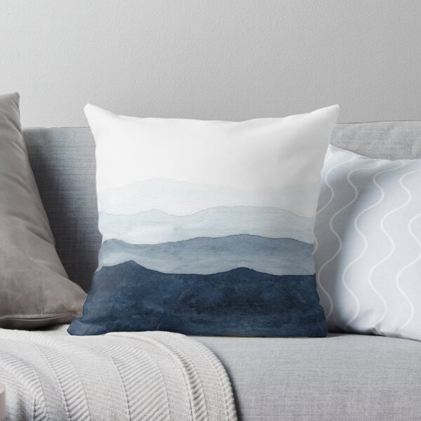 Mountains Ombre | Indigo Abstract Watercolor Throw Pillow