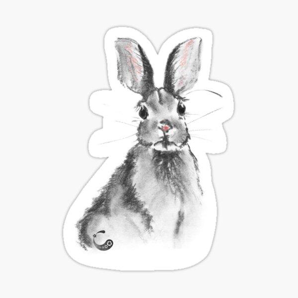 Rabbit Bunny (Sticker) (Charcoal Animals) Sticker