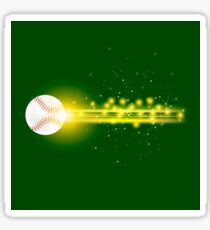 Burning Baseball Ball with Yellow Sparkles Isolated on Green Background Sticker